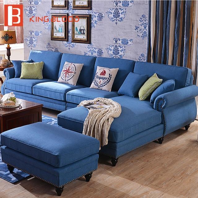 Canapé d\'angle modulaire de salon américain en tissu lin bleu avec chaise  ottomane