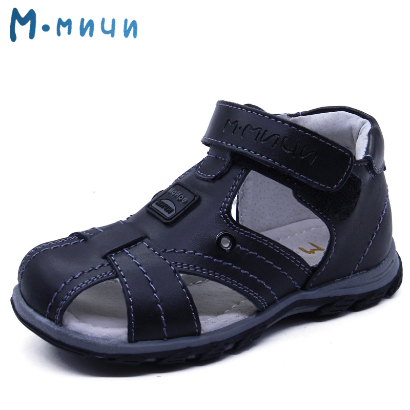 Mmnun 2017 Boys Sandals Genuine Leather Children Sandals Closed Toe Sandals for Little and Big Sport Kids Summer Shoes Size26-31