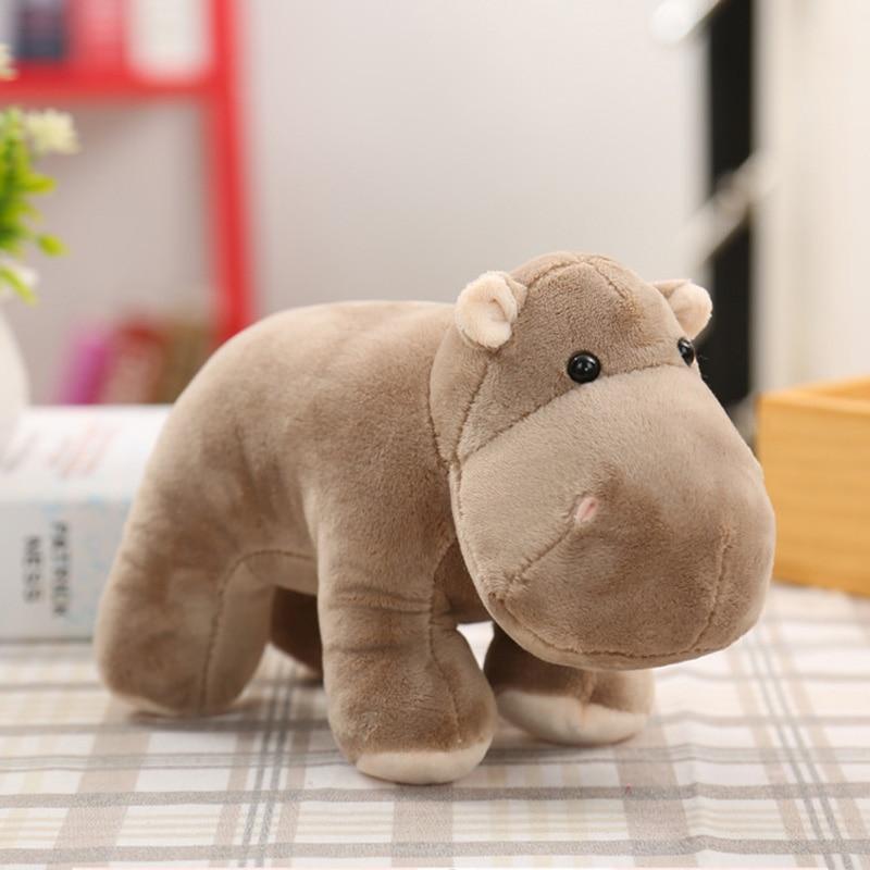 25 20cm Simulation Elephant Hippopotamus Rhinoceros Plush Toy Animals Dolls Soft Cotton Baby Brinquedos for Children Gift in Stuffed Plush Animals from Toys Hobbies