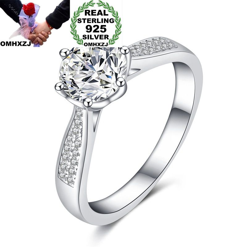 OMHXZJ Wholesale European Fashion Woman Man Party Wedding Gift Silver White Round AAA Zircon S925 Sterling Silver Ring RR195