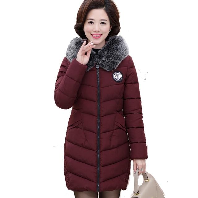Dames Lange Winterjas Met Bontkraag.Nice Vrouwen Winter Grote Bontkraag Jas Vrouwelijke Plus Size 4xl 5x