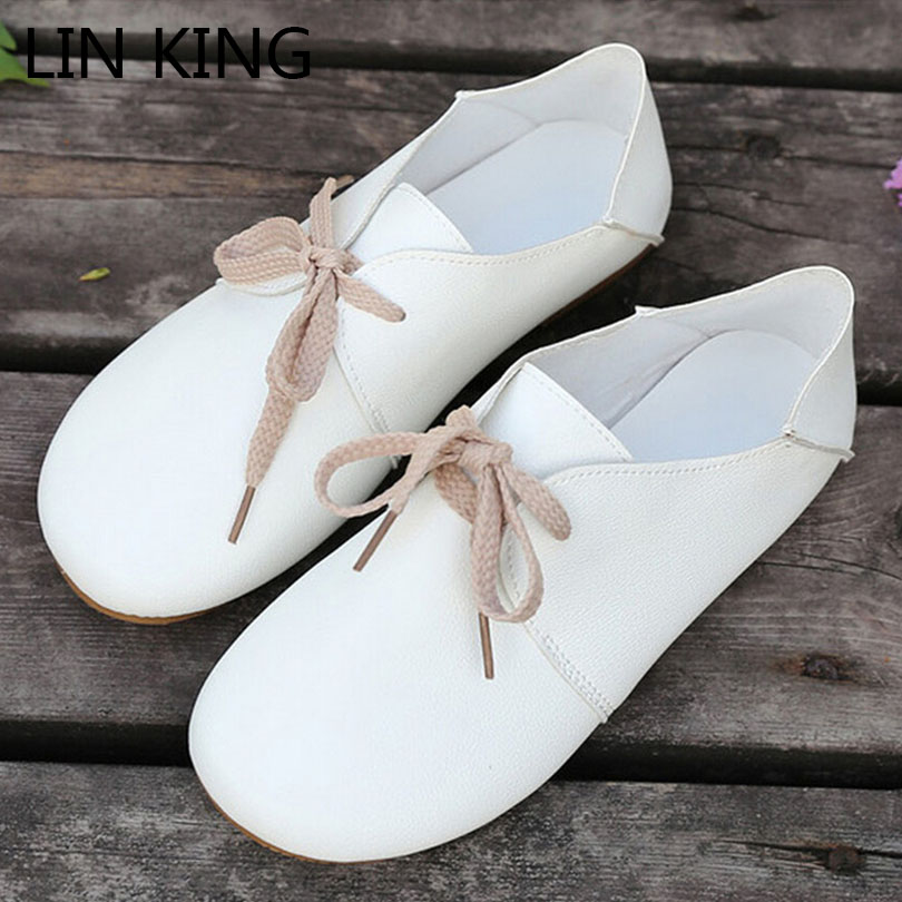 LIN KING Casual Lace Up Women Flats Shoes Comfortable Round Toe Girls Single Shoes New Arrive Spring Autumn Cross-tie Short Shoe lin king fashion pearl pointed toe women flats shoes new arrive flock casual ladies shoes comfortable shallow mouth single shoes