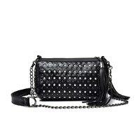 Real Sheepskin Genuine Leather Women Messenger Bags Rivet Shoulder Bags Fashion Tassels Evening Bags Ladies Day