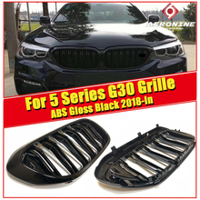 цены 1 Pair ABS Gloss Black Front Kidney Grille Grill For BMW 5 Series G30 520i 530i Double Slats Front Grille Auto Car styling 2018+