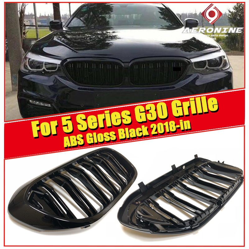 1 Pair ABS Gloss Black Front Kidney Grille Grill For BMW 5 Series <font><b>G30</b></font> <font><b>520i</b></font> 530i Double Slats Front Grille Auto Car styling 2018+ image