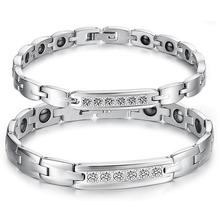 Lovers Stainless Steel Hologram Bracelets with Cubic Zirconia Magnet Stone Inlaid Women Men Health Care Jewelry