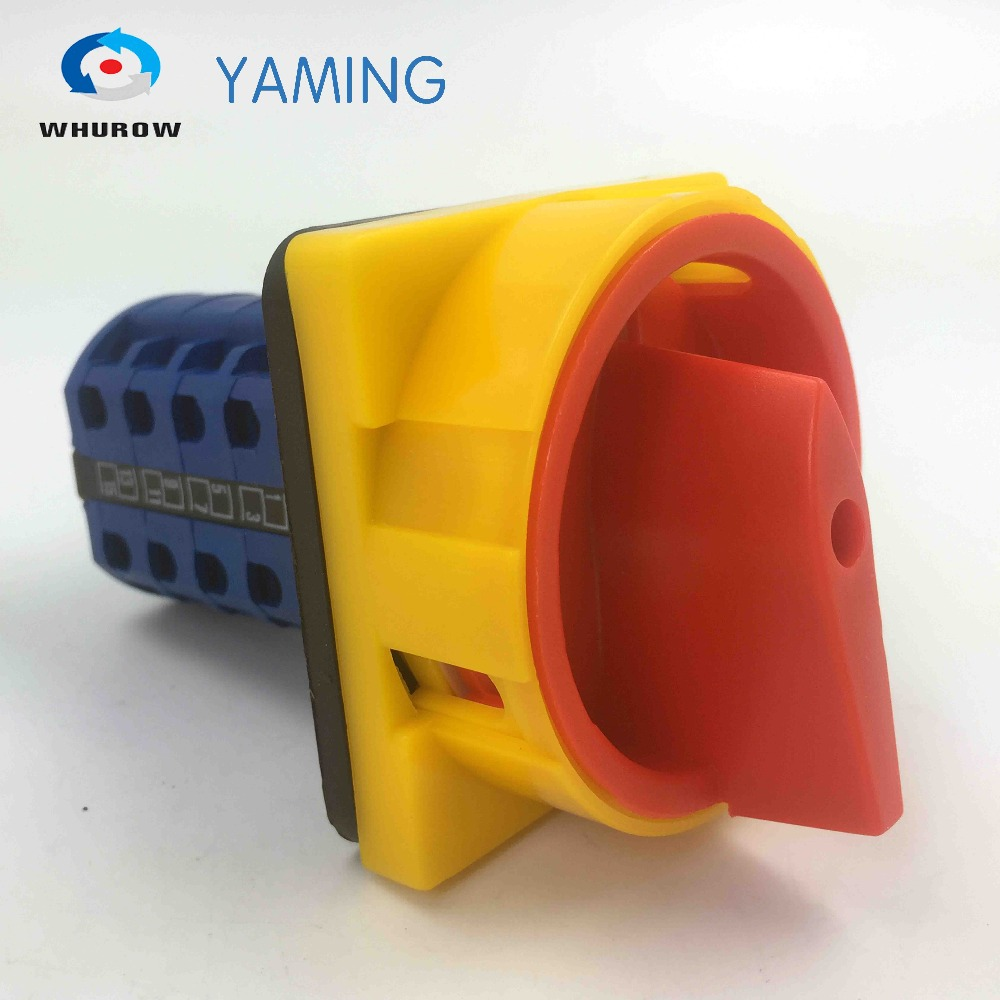 690V 20A 4Poles Padlock Changeover Rotary Switch 2 position ON-OFF switch emergency stop safe control YMW26-20/4GS rotary switch ymz12 25 4 changeover cam combination switch 4 poles 8 positions 14 terminals 25a ui 690v sliver point contacts