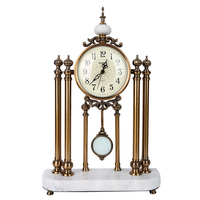 Luxury metalTable Clocks shabby chic marble base home desk clockes metal plated copper finish europe vintage clocks dropshipping