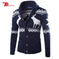 New Fashion Chirstmas Cloth Cashmere Sweater Men Winter Cardigan Single Breasted Casual Slim Mens Sweaters Deer Pattern Knitwear