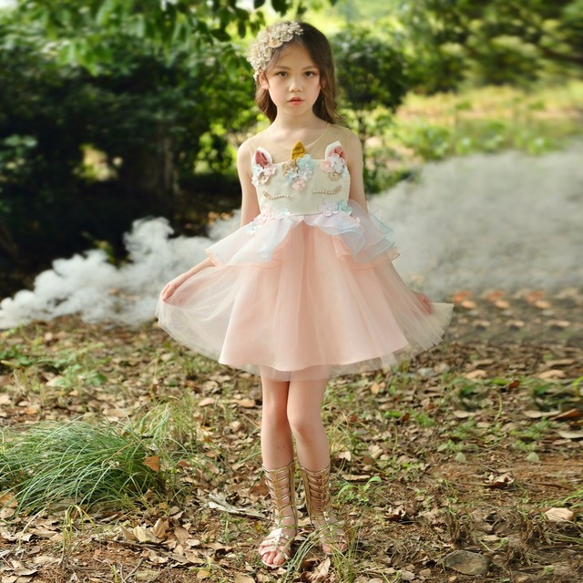 Kids Cartoon Dress For Girls Embroidery Flower Ball Gown Baby Girl Princess Dresses For Party Costumes Vestido Unicornio 2-10T