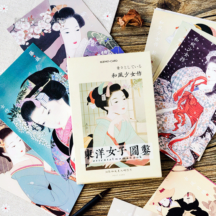 3set/ lot Japanese Woman Field guide christmas greeting cards ...