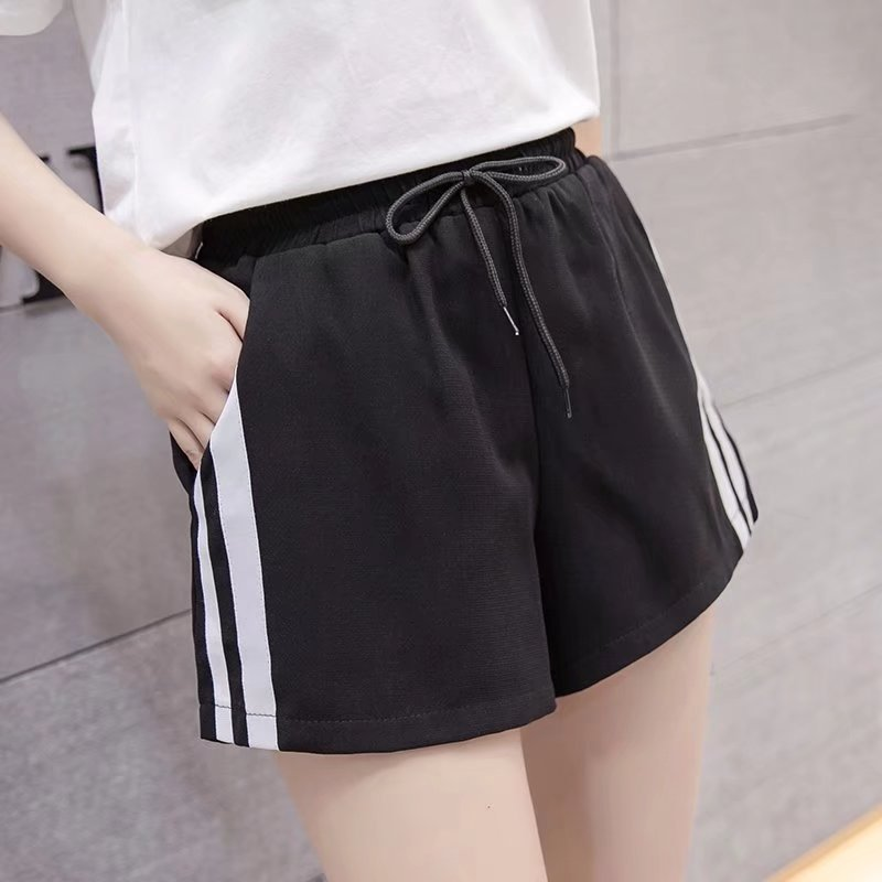 DANJEANER Women Casual Shorts White Sides Stripe High Waist Joggers Loose Wide Hot Shorts Capirs BF Style Casual Workout Shorts