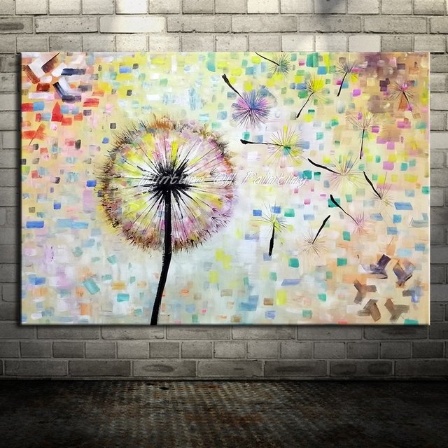 Attractive Mintura Art Hand Painted Flower Dandelion Oil Painting On Canvas Wall Art  Wall Pictures For Living