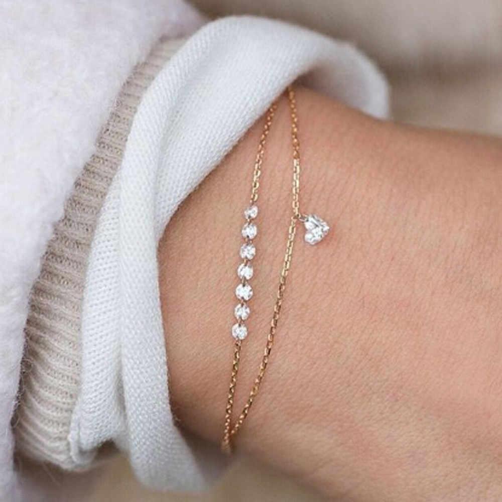 Moda elegante pulsera doble capa de corazón con cristales mujeres compromiso boda cobre cristal joyas puleras mujer #35