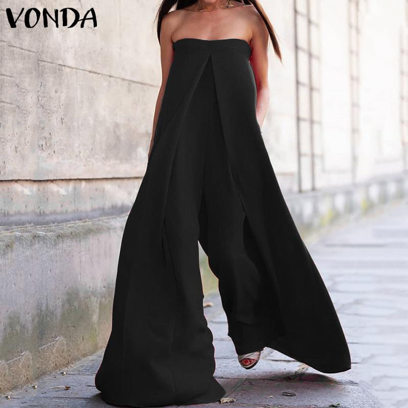 VONDA Rompers Womens Jumpsuit 2019 Summer Sexy Off The Shoulder Casual Playsuit Plus Size Wide Leg Pants Loose Overalls Pantalon