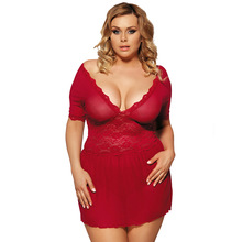 5XL Babydoll Plus Size Summer Sexy Sleep Wear Nightgown Red Silk Lingerie Sexy Lace Nightdress For Women