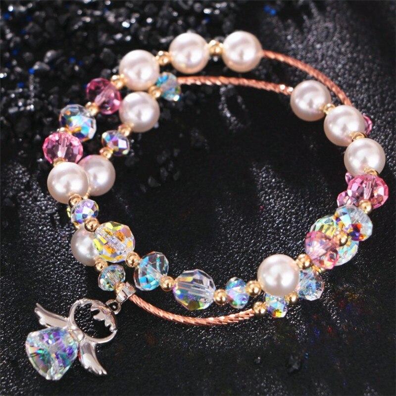 2 couches de mode cristal perle perlée Bracelets bijoux femme individualité mignon ange pendentif Bracelets porte-bonheur saint-valentin cadeaux