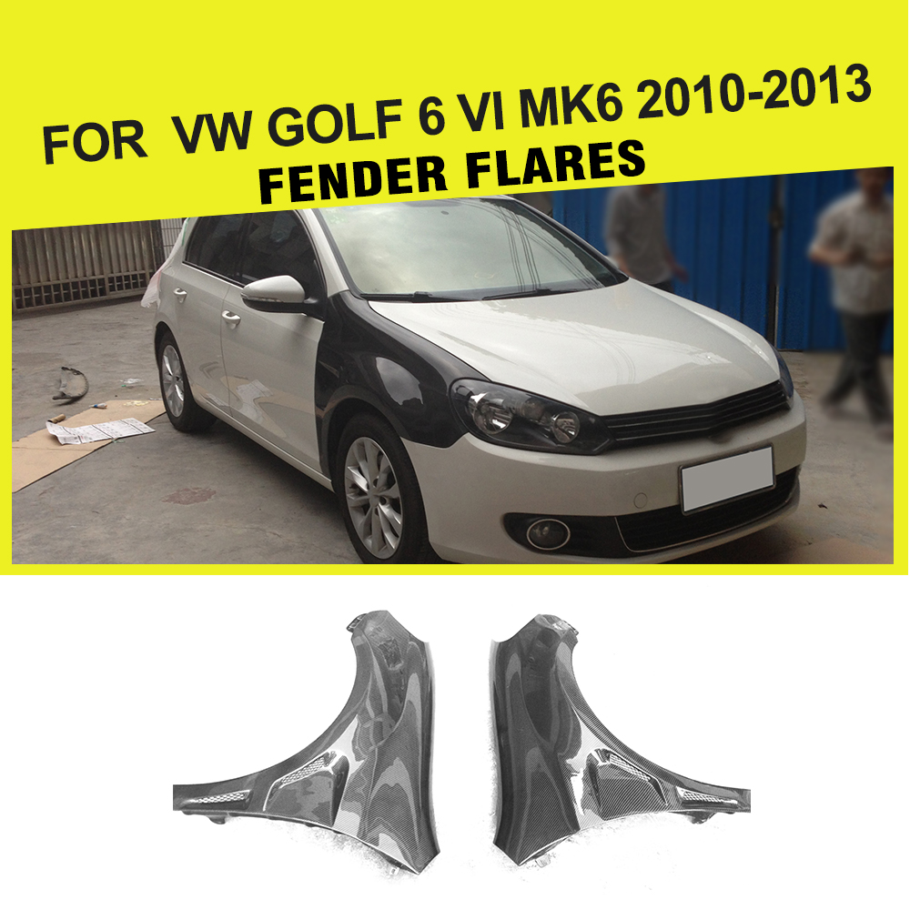 Car-Styling Carbon fiber Trunk fenders flares Side Fenders for Volkswagen VW GOLF 6 VI MK6 2010-2013 Car Accessories car rear trunk security shield cargo cover for volkswagen vw golf 6 mk6 2008 09 2010 2011 2012 2013 high qualit auto accessories