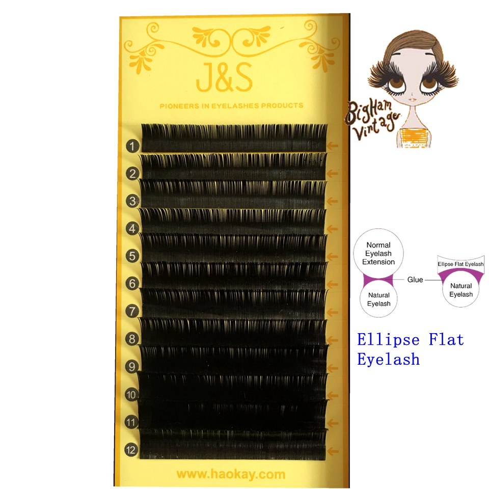 J&S 1tray Mixed Size Flat Ellipse J B C D Curl Eyelash Extension - Matte Finished