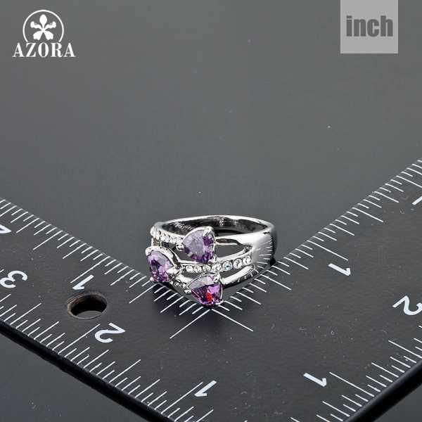 AZORA สีขาวทอง 3 ชิ้น Stellux แหวนคริสตัลออสเตรีย TR0050