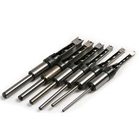 6pcs HSS Square Hole Mortiser Drill Bit Mortising Chisel Set Twist Drill Bit For Woodworking Drill