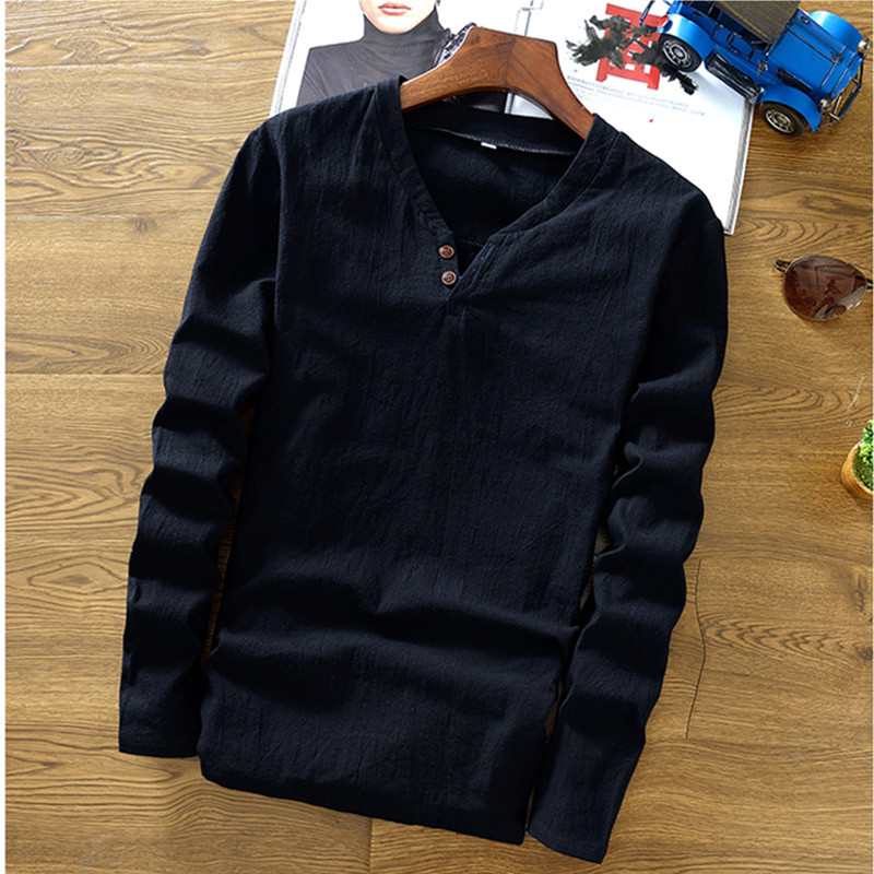 Linen shirt solid color long-sleeved T-shirt men's spring new round neck T-shirt fashion men's shirt T-shirt #008