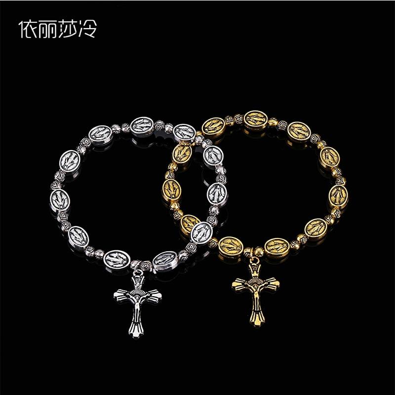 48 piezas/pulsera de cruz de Jesús Vintage oro y plata joyería de Jesús Rosario corazón St.-in Pulseras de tira from Joyería y accesorios    1