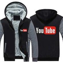 f8ff226a49e57 Dropshiping Winter Youtube Jacket Baseball Unisex Wool Liner Fleece Casual  Hoodie Thick zipper Sweatshirt For Men s
