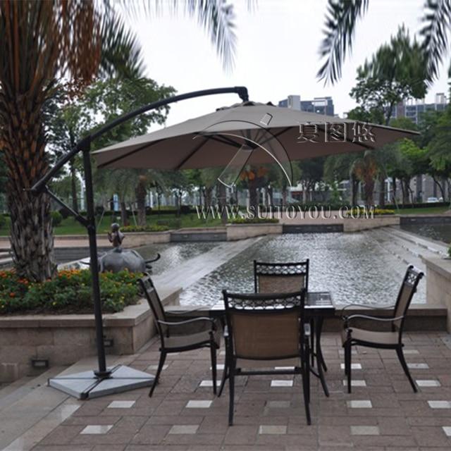 3 Meter Aluminum Outdoor Sun Patio Umbrella Parasol Garden Furniture Cover  Sunshade 360 Degrees Rotation(