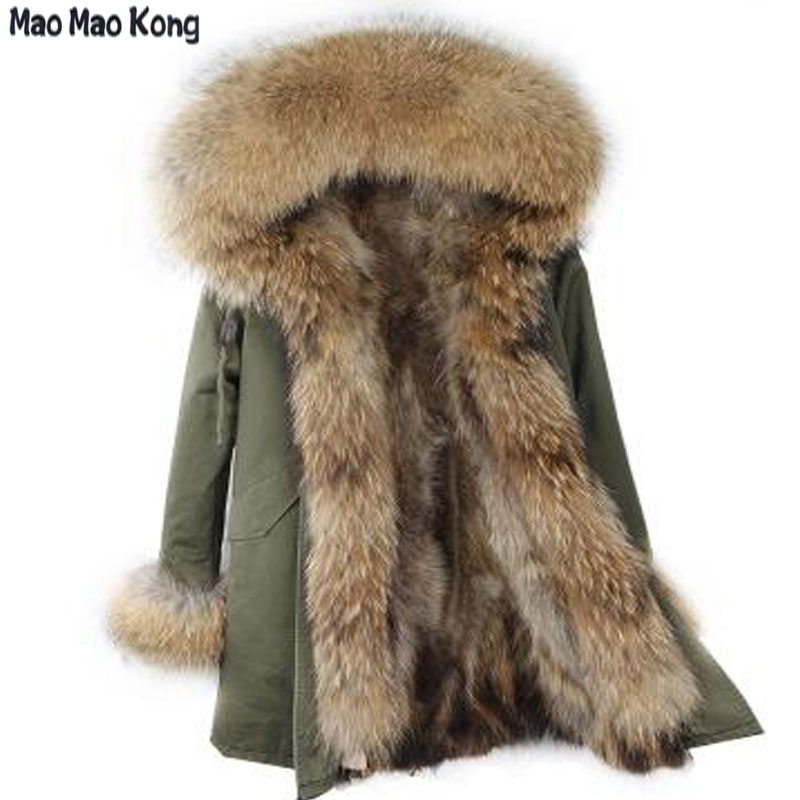 MaoMaoKong Natural fox fur liner American Military Parka with Hood ...