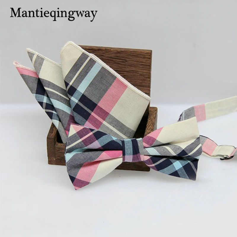 Mantieqingway England Style Män Plaid Bowtie Pocket Square Handkerchief Set För Suits Business Pocket Square Handduk Bow Tie Set