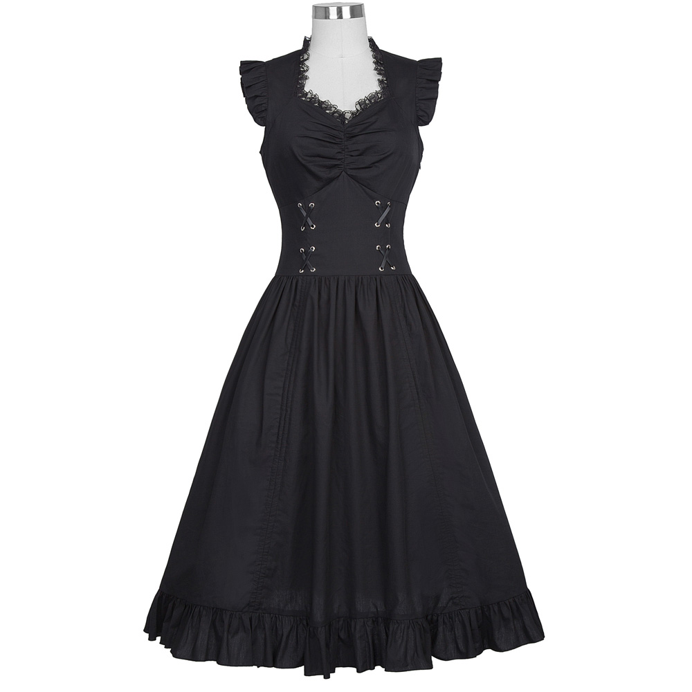 Belle Poque Women Sleeveless V-Neck Lace-up Corset Ruffle Dress 2018 Retro Vintage Steampunk Black Punk Gothic Victorian Dress 9