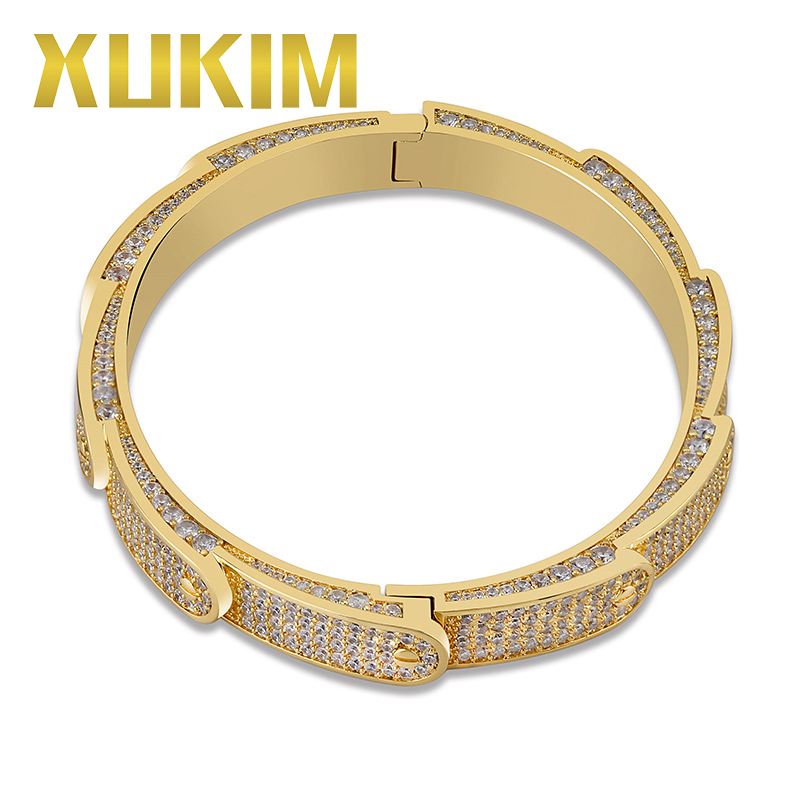 Xukim bijoux nouveauté vis circulaire pic Bracelet manchette Bracelet Bling or argent couleur glacé CZ Hip Hop bijoux cadeau