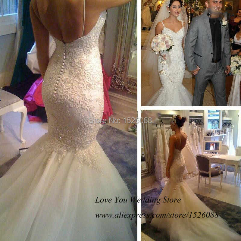 Real Love White Sexy Backless Mermaid Wedding Dresses 2015 Lace Bridal Gowns Straps Tulle Fishtail Vestido De Noiva Plus Size