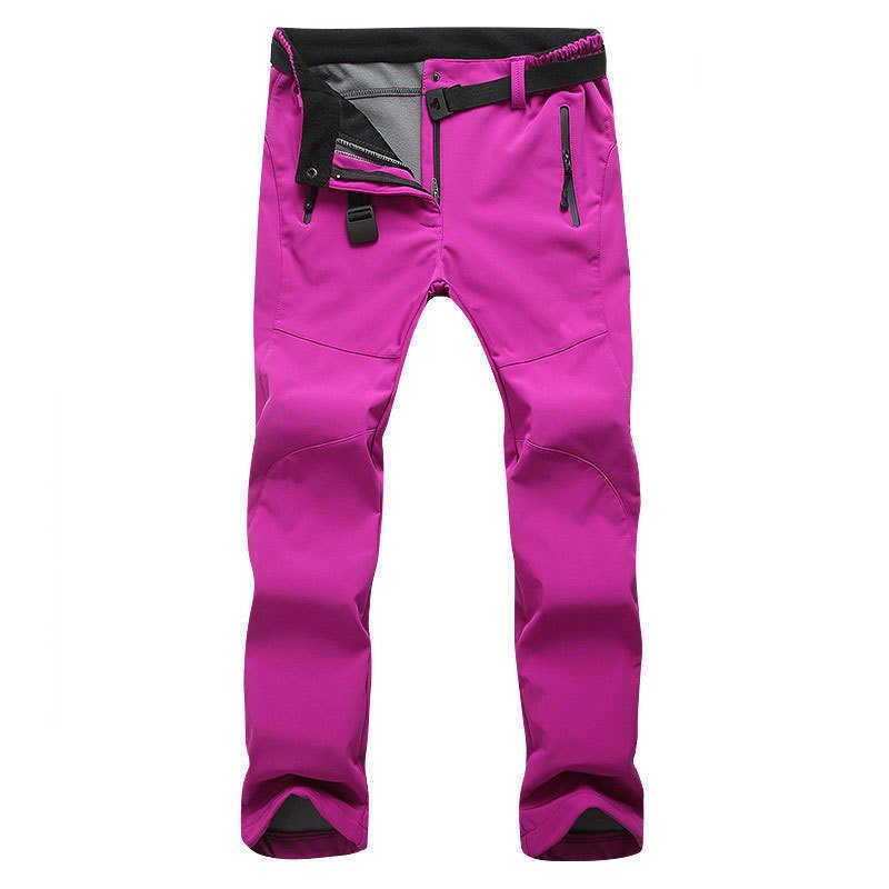 Outono e inverno calças grossas homens mulheres velo Fino calças compridas calças de esqui escalada ao ar livre à prova de vento de casca mole à prova d' água