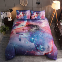 3D Galaxy Bedding Set Queen King Size Unicorn Bedding Starry Reactive Printed Colorful Bed Linen Single Double Bed Cover Sets