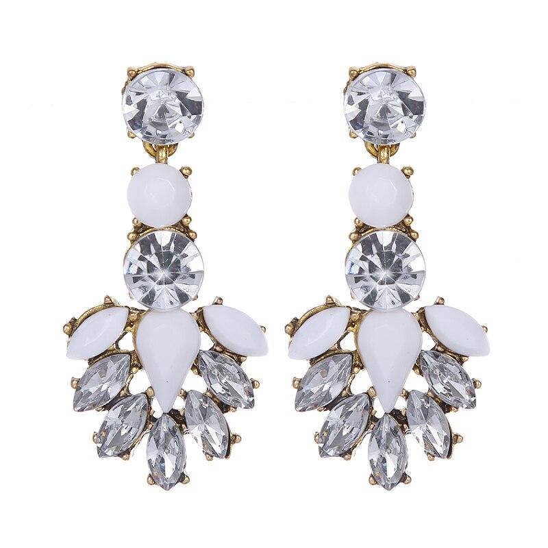 Antique Gold Luxury Vintage Water Drop Earrings Long Big Geometry Oval Rhinestone Crystal Dangle Earring Statement Jewelry Women