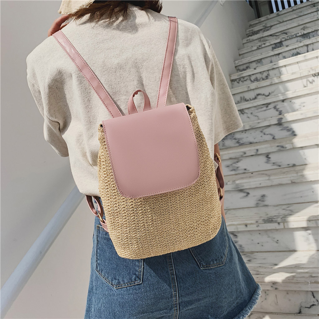 Rattan bag backpack women bag over shoulder Students Weaving PU leather School Bag Backpack Travel Shoulder mochila wicker bagRattan bag backpack women bag over shoulder Students Weaving PU leather School Bag Backpack Travel Shoulder mochila wicker bag
