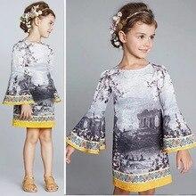 Девушки Одеваются Новый 2016 Мода Европа Печати Принцесса Платья для Детей Одежда Для Новорожденных Детей Свадебные Платья
