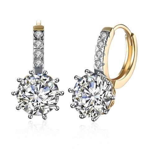 Женские серьги гвоздики с фианитами золотистые кристаллами в