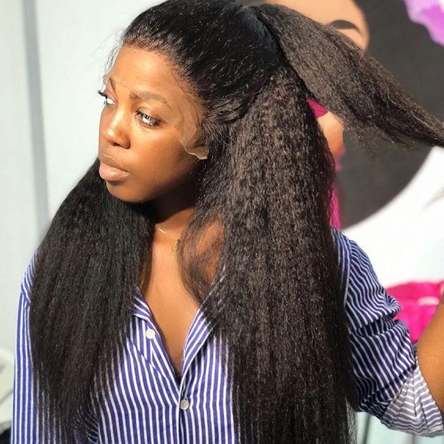 Instaone 28 30 32 インチ変態ストレートレースフロント人毛ウィッグ事前摘み取ら黒人女性のための完全なエンドグルーレスレースフロントかつら  グループ上の ヘアエクステンション & ウィッグ からの 人毛レースウィッグ の中 1