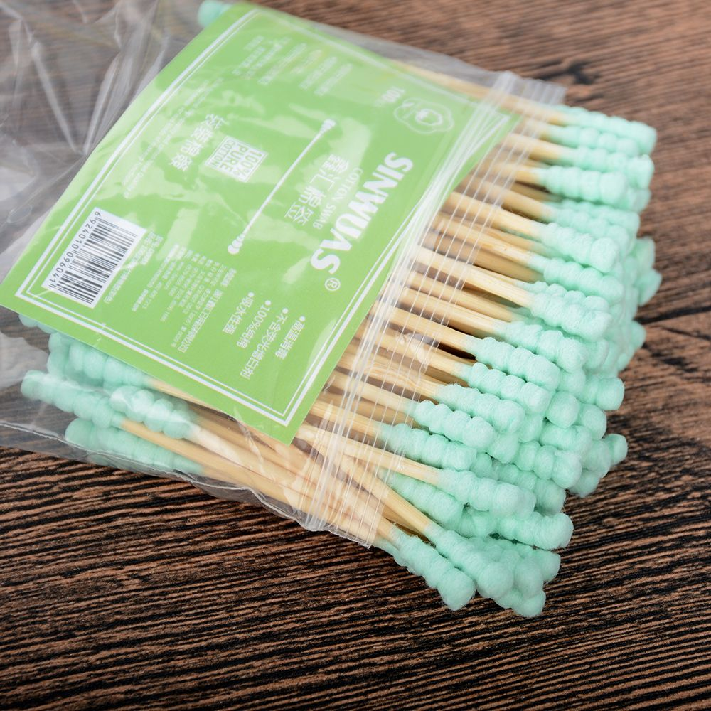 HOT 100pcs/set Micro Brushes Wooden Double Tip Remover Cotton Swabs F Kids Disposable Applicator Swab Extension Mascara Brushes