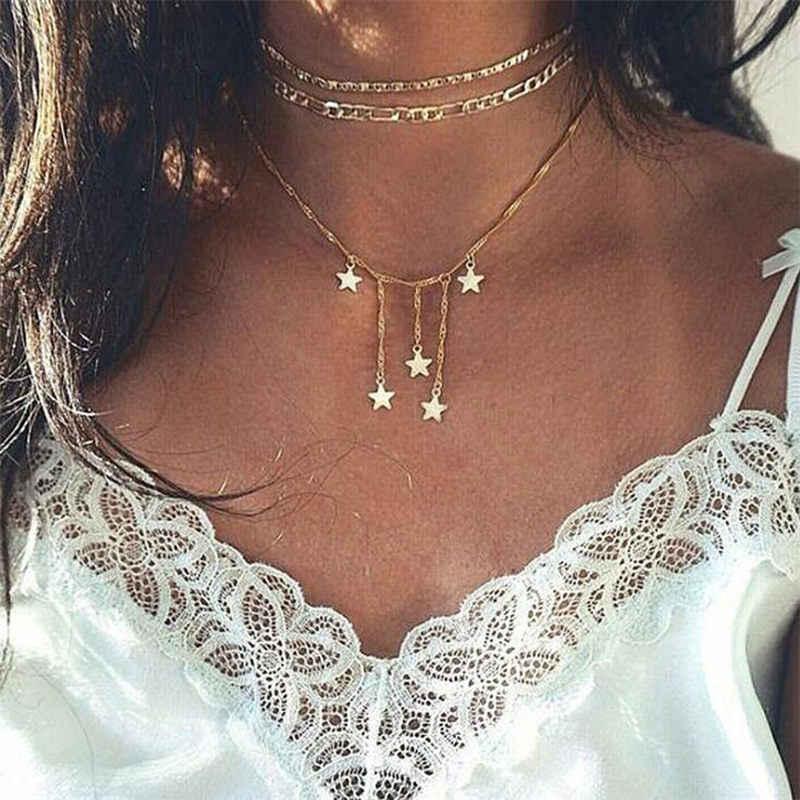 Gorąca sztuczna perła kropla gwiazda kryształ artystyczny wielowarstwowy naszyjnik dla kobiet łańcuch geometryczny naszyjnik biżuteria hurtowych