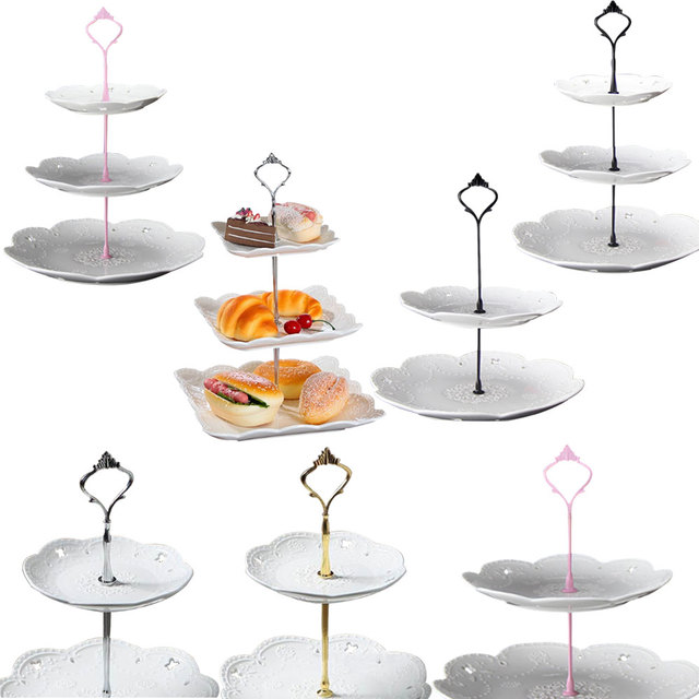2/3 Layers Crown Cake Plate Stand Desserts Pastry Rack Holder Fitting Wedding Without Plate Cake Tools Decor