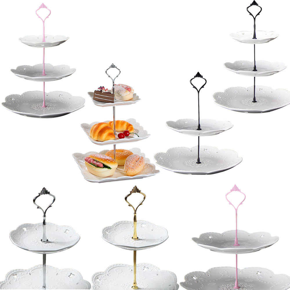 2/3 Layers Crown <font><b>Cake</b></font> Plate Stand Desserts Pastry Rack Holder Fitting Wedding Without Plate <font><b>Cake</b></font> <font><b>Tools</b></font> <font><b>Decor</b></font> image