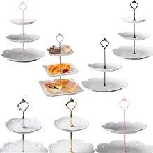 2/3 kat taç kek plaka standı tatlılar pasta rafı tutucu uydurma düğün plaka olmadan kek araçları dekor