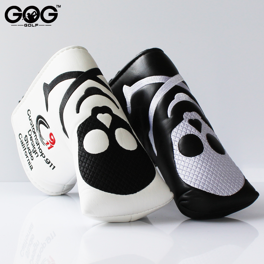 GOG New Two Colors Skull PU Golf Headcover for Blade Golf Putter Free Shipping black white putter headcover 2016 new womens golf tshirts branded high quality dobby long sleeve breathable s 2xl 4 colors golf sport clothing free shipping