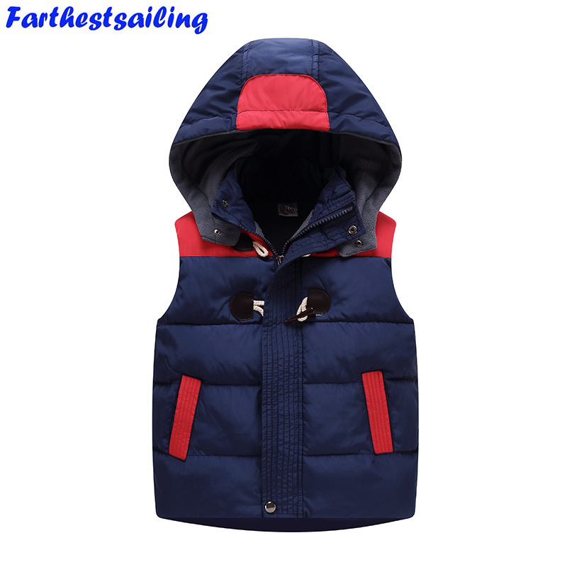 2018 Winter Kids Waistcoats Children Vest Warm Hooded Coat Infant Sleeveless Jacket Cotton Kid Clothe Boy Girl Outwear