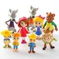 A Goldie e Urso 9 pçs/set Goldie Urso Big Bad Wolf Boneca Figuras de Ação PVC figura Brinquedos Anime 5-9 CM