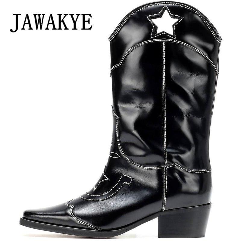 Рыцарские сапоги в западном стиле с вырезами и вышивкой; черные женские сапоги до колена из натуральной кожи с квадратным носком; ботинки ср...